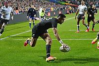 17th July 2021; Hamilton, New Zealand;  Rieko Ioane scores a try. All Blacks versus Fiji, Steinlager Series, international rugby union test match. FMG Stadium Waikato, Hamilton, New Zealand.