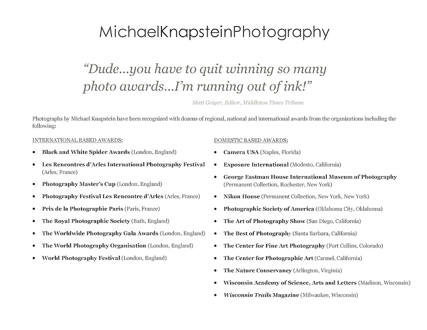 International Award-Winning Photographs by Wisconsin Fine-Art Photographer Michael Knapstein