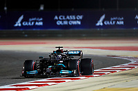 27th March 2021; Sakhir, Bahrain; F1 Grand Prix of Bahrain, Qualifying sessions;  44 HAMILTON Lewis (gbr), Mercedes AMG F1 GP W12 E takes 2nd on pole during Formula 1 Gulf Air Bahrain Grand Prix 2021 from March 26 to 28, 2021 on the Bahrain International Circuit, in Sakhir, Bahrain