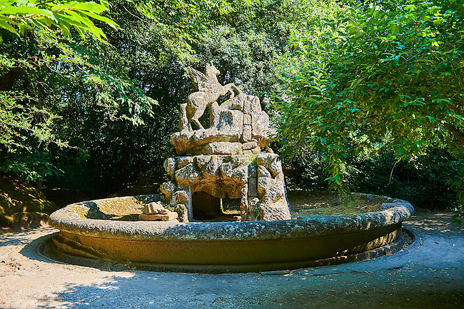 Pegasus fountain, a tribute to the Farnese family, commissioned by Piaer Francesco Orsini c. 1513-84, The Renaissance Mannerist statues of the Park of Monsters or The Sacred Wood of Bamarzo, Italy