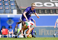 Luna Vanzeir (10) of OHL pictured fighting for the ball with Michelle Colson (2) of Anderlecht  during a female soccer game between Oud Heverlee Leuven and RSC Anderlecht on the 2nd matchday of play off 1 in the 2020 - 2021 season of Belgian Womens Super League , saturday 17 th of April 2021  in Heverlee , Belgium . PHOTO SPORTPIX.BE | SPP | DAVID CATRY