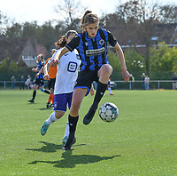 Marie Minnaert (13) of Club Brugge pictured in a duel with Stefania Vatafu (10) of Anderlecht during a female soccer game between Club Brugge Dames YLA and RSC Anderlecht on the fourth matchday in Play-Off 1 of the 2020 - 2021 season of Belgian Scooore Womens Super League , saturday 1st May 2021  in Brugge , Belgium . PHOTO SPORTPIX.BE | SPP | DAVID CATRY