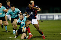 Lennox Anyanwu of London Scottish and Shane O'Leary of Nottingham Rugby during the Greene King IPA Championship match between London Scottish Football Club and Nottingham Rugby at Richmond Athletic Ground, Richmond, United Kingdom on 7 February 2020. Photo by Carlton Myrie.