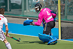 GER - Mannheim, Germany, April 15: During the field hockey 1. Bundesliga match between Mannheimer HC (blue) and Rot-Weiss Koeln (white) on April 15, 2018 at Am Neckarkanal in Mannheim, Germany. Final score 2-2. (Photo by Dirk Markgraf / www.265-images.com) *** Local caption *** Lukas Stumpf #4 of Mannheimer HC