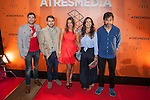 Nuria Roca (2R) and his TV show team attend A3media Cafe inauguration in Madrid, Spain. June 11, 2013. (ALTERPHOTOS/Victor Blanco)