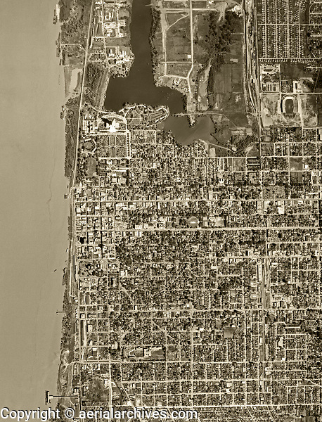 historical aerial photograph Baton Rouge, Louisiana, 1952