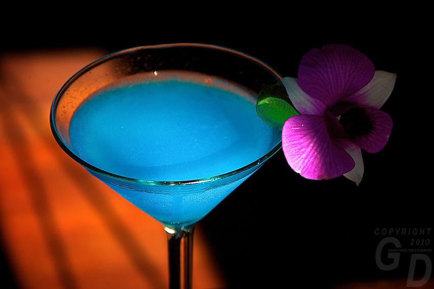 Cocktail Blue Lagoon,High end Restaurant  Food