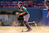 North Dakota State Bisons Tanner Adam #6 during a game vs Bradley Braves at Chain of Lakes Park in Winter Haven, Florida;  March 17, 2011.  Bradley defeated North Dakota State 6-5.  Photo By Mike Janes/Four Seam Images