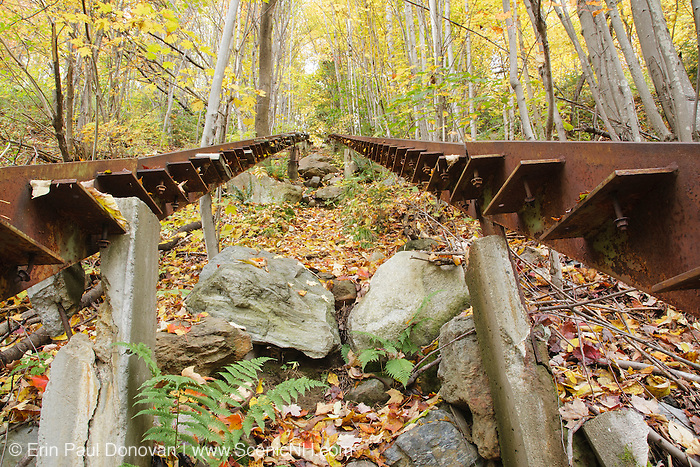 Looking up the stairs at the abandoned Nansen Ski Jump in Milan New Hampshire USA. This jump was constructed in 1936 and in 1938 Olympic Trials were held here. The jump was closed in 1988.