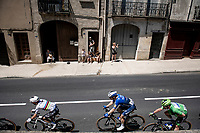 World Champion Julian Alaphilippe (FRA/Deceuninck - QuickStep) & Green Jersey / points leader Mark Cavendish (GBR/Deceuninck - Quick Step) rolling through town<br /> <br /> Stage 13 from Nîmes to Carcassonne (220km)<br /> 108th Tour de France 2021 (2.UWT)<br /> <br /> ©kramon