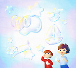 Illustrative image of happy children blowing bubbles outdoors