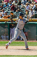 Hak-Ju Lee (17) of the Sacramento River Cats at bat against the Salt Lake Bees in Pacific Coast League action at Smith's Ballpark on May 01, 2016 in Salt Lake City, Utah. Sacramento defeated Salt Lake 16-6.  (Stephen Smith/Four Seam Images)