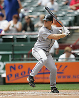 Seattle Mariners C Jeff Clement bats against the Texas Rangers on May 14th, 2008 at Texas Rangers Ball Park. Photo by Andrew Woolley / Four Seam Images.