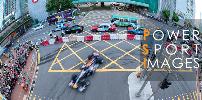 Red Bull Toro Rosso driver Jaime Alguersuari turns his Formula 1 car at the end of Hong Kong's Lung Wo Road during the Red Bull Dragon Run 2011 in Hong Kong, China on the 18th June 2011.