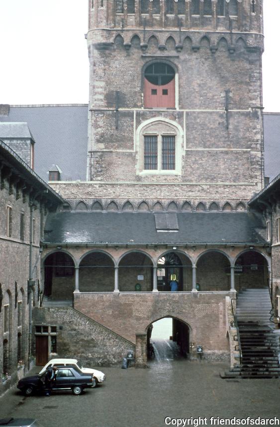 Bruges: The Halles Courtyard behind Belfry.  Photo '87.