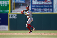 Lakewood BlueClaws shortstop Luis Garcia (3) on defense against the Hickory Crawdads at L.P. Frans Stadium on April 28, 2019 in Hickory, North Carolina. The Crawdads defeated the BlueClaws 10-3. (Brian Westerholt/Four Seam Images)