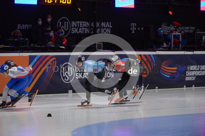 SPEEDSKATING: DORDRECHT: 06-03-2021, ISU World Short Track Speedskating Championships, RF 1500m Ladies, Michaela Hruzova (CZE), Volha Talayeva (BLR), Tineke van den Dulk (BEL), ©photo Martin de Jong