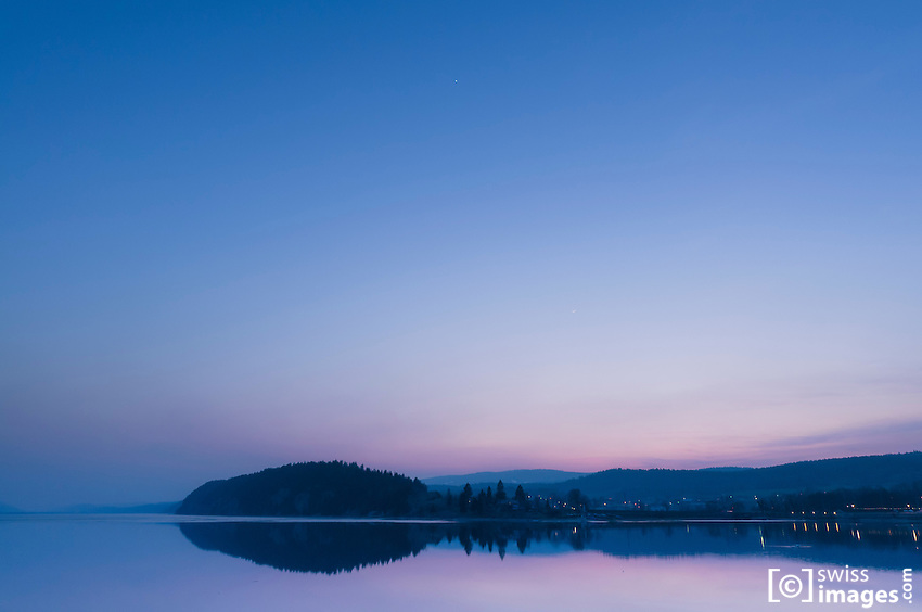View of the Lac-de-Joux at dusk