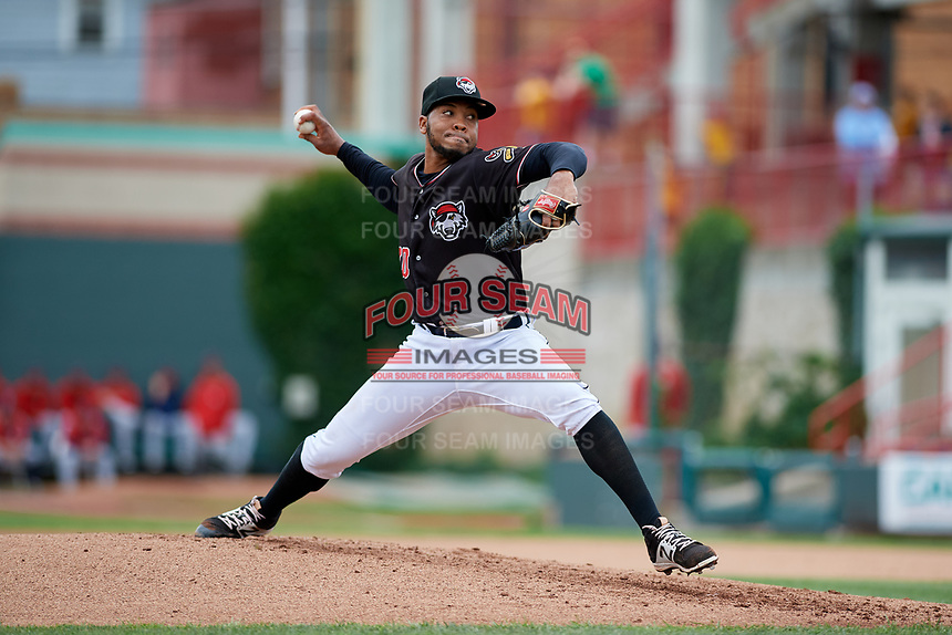 Erie SeaWolves starting pitcher Sandy Baez (30) delivers a pitch during a game against the New Hampshire Fisher Cats on June 20, 2018 at UPMC Park in Erie, Pennsylvania.  New Hampshire defeated Erie 10-9.  (Mike Janes/Four Seam Images)