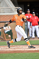Tennessee Volunteers left fielder Christin Stewart (20) swings at a pitch during a game against the Georgia Bulldogs at Lindsey Nelson Stadium March 21, 2015 in Knoxville, Tennessee. The Bulldogs defeated the Volunteers 12-7. (Tony Farlow/Four Seam Images)