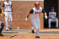 Joe Panik #2 of the St. John's Red Storm watches the flight of his solo home run against the VCU Rams at the Charlottesville Regional of the 2010 College World Series at Davenport Field on June 5, 2010, in Charlottesville, Virginia.  The Red Storm defeated the Rams 8-6.  Photo by Brian Westerholt / Four Seam Images