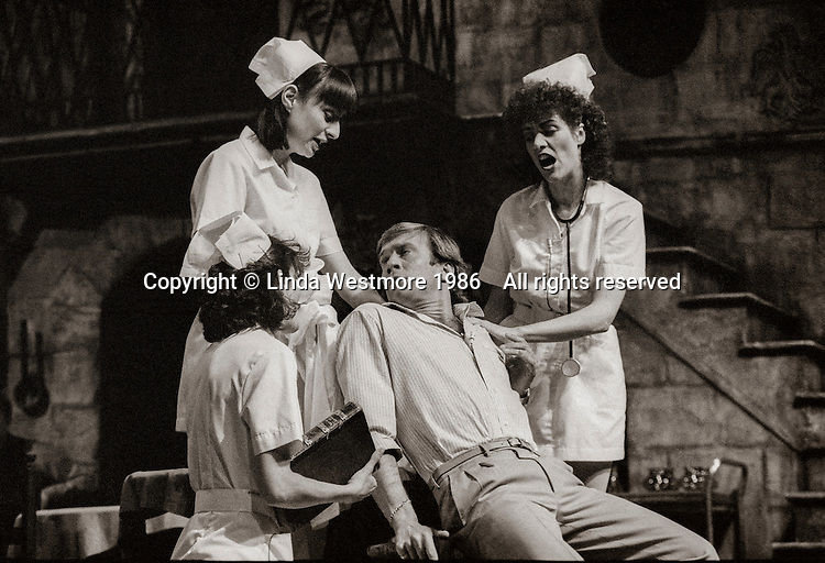 """Callimaco (Nicky Henson) in """"Mandragola"""" by Niccolo Machiavelli, directed by David Gilmore, designed by Roger Glossop, National Theatre, London, 1986."""