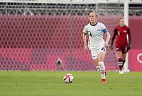 KASHIMA, JAPAN - JULY 27: Becky Sauerbrunn #4 of the United States dribbles with the ball during a game between Australia and USWNT at Ibaraki Kashima Stadium on July 27, 2021 in Kashima, Japan.
