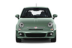 Car photography straight front view of a 2016 Fiat 500 Sport 3 Door Hatchback Front View