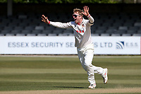 Simon Harmer of Essex claims the wicket of Scott Borthwick during Essex CCC vs Durham CCC, LV Insurance County Championship Group 1 Cricket at The Cloudfm County Ground on 18th April 2021
