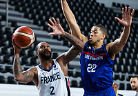 22nd February 2021, Podgorica, Montenegro; Eurobasket International Basketball qualification for the 2022 European Championships, England versus France;  Amath M'Baye of France challenged by Myles Hesson of Great Britain