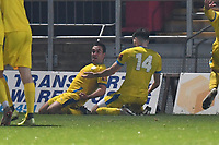 Sam Blackman of Concord Rangers FC scores the equaliser and celebrate during Stevenage vs Concord Rangers , Emirates FA Cup Football at the Lamex Stadium on 7th November 2020