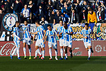 CD Leganes' players celebrate goal during La Liga match between CD Leganes and Sevilla FC at Butarque Stadium in Leganes, Spain. December 23, 2018. (ALTERPHOTOS/A. Perez Meca)