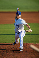 Bluefield Blue Jays starting pitcher Cre Finfrock (22) delivers a pitch during a game against the Bristol Pirates on July 26, 2018 at Bowen Field in Bluefield, Virginia.  Bristol defeated Bluefield 7-6.  (Mike Janes/Four Seam Images)