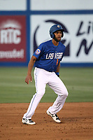 Amed Rosario (1) of the Las Vegas 51s leads off of second base during a game against the Sacramento River Cats at Cashman Field on June 15, 2017 in Las Vegas, Nevada. Las Vegas defeated Sacramento, 12-4. (Larry Goren/Four Seam Images)