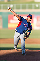 AZL Rangers relief pitcher Jesus Linarez (86) delivers a pitch during an Arizona League playoff game against the AZL Indians 1 at Goodyear Ballpark on August 28, 2018 in Goodyear, Arizona. The AZL Rangers defeated the AZL Indians 1 7-4. (Zachary Lucy/Four Seam Images)