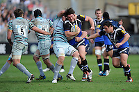 Nathan Catt of Bath Rugby is tackled by Jordan Crane of Leicester Tigers during the Aviva Premiership match between Bath Rugby and Leicester Tigers at The Recreation Ground on Saturday 20th April 2013 (Photo by Rob Munro)