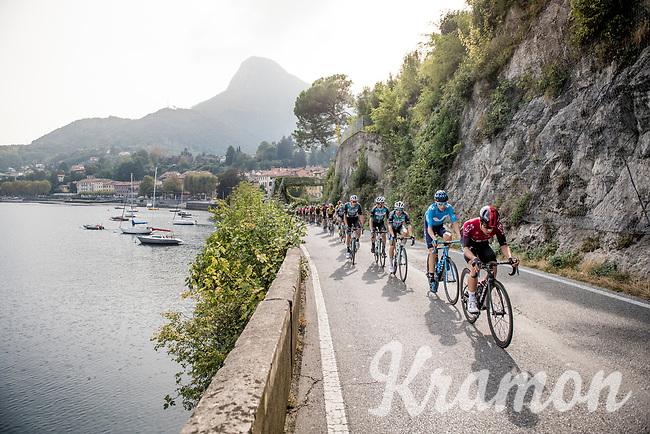 Jonathan Castroviejo (ESP/Ineos) setting the pace in the peloton while riding alongside Lake Como<br /> <br /> 113th Il Lombardia 2019 (1.UWT)<br /> 1 day race from Bergamo to Como (ITA/243km)<br /> <br /> ©kramon