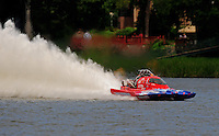 Jul. 18, 2009; Augusta, GA, USA; IHBA top fuel hydro driver John Haas races during qualifying for the Augusta Southern Nationals on the Savannah River. Mandatory Credit: Mark J. Rebilas-