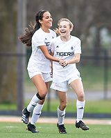 Kayla Hurley (11) (scored) and Olivia Smith (9) of Bentonville celebrates her first score of the night against Rogers Heritage at David Gates Stadium, Rogers, Ark., on Tuesday,, March 30, 2021  / Special to NWA Democrat-Gazette/ David Beach