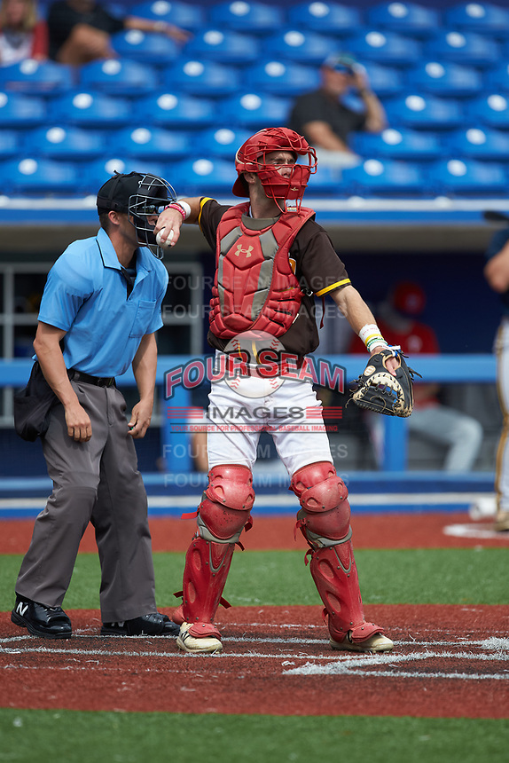 Catcher Casey Gibbs (10) of St. John's High School (MD) playing for the San Diego Padres scout team on defense during game five of the South Atlantic Border Battle at Truist Point on September 27, 2020 in High Pont, NC. (Brian Westerholt/Four Seam Images)