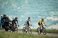 the leading trio in the final kilometers up the final climb of the day; the Col du Portet (HC/2215m) are also the leading GC contenders (aside Rigoberto Uran): yellow jersey / GC leader Tadej Pogacar (SVN/UAE-Emirates), Jonas Vingegaard (DEN/Jumbo-Visma) & Richard Carapaz (ECU/INEOS Grenadiers)<br /> <br /> Stage 17 from Muret to Saint-Lary-Soulan (Col du Portet)(178km)<br /> 108th Tour de France 2021 (2.UWT)<br /> <br /> ©kramon