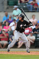 San Antonio Missions second baseman Casey McElroy (7) at bat during a game against the Arkansas Travelers on May 25, 2014 at Dickey-Stephens Park in Little Rock, Arkansas.  Arkansas defeated San Antonio 3-1.  (Mike Janes/Four Seam Images)