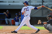 Kingsport Mets first baseman Zach Mathieu #34 swings at a pitch during a game against the Elizabethton Twins at Hunter Wright Stadium on June 29, 2013 in Kingsport, Tennessee. The Mets won the game 5-4. (Tony Farlow/Four Seam Images)