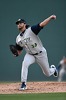 Starting pitcher David Peterson (30) of the Columbia Fireflies, the Mets' 2017 first round draft choice (20th overall), made his Class A debut in a game against the Greenville Drive on Wednesday, April 18, 2018, at Fluor Field at the West End in Greenville, South Carolina. (Tom Priddy/Four Seam Images)