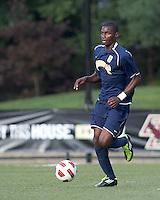 Quinnipiac University forward Machel Baker (8) brings the ball forward. Boston College defeated Quinnipiac, 5-0, at Newton Soccer Field, September 1, 2011.