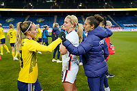 SOLNA, SWEDEN - APRIL 10: Lindsey Horan #9 and Carli Lloyd #10 of the United States celebrate during a game between Sweden and USWNT at Friends Arena on April 10, 2021 in Solna, Sweden.