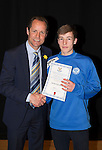 St Johnstone FC Academy Awards Night...06.04.15  Perth Concert Hall<br /> Alec Cleland presents a certificate to Jamie Docherty<br /> Picture by Graeme Hart.<br /> Copyright Perthshire Picture Agency<br /> Tel: 01738 623350  Mobile: 07990 594431