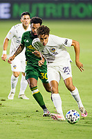 CARSON, CA - OCTOBER 07: Ethan Zubak #29 of the Los Angeles Galaxy moves with the ball during a game between Portland Timbers and Los Angeles Galaxy at Dignity Heath Sports Park on October 07, 2020 in Carson, California.