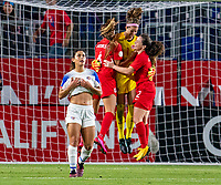 CARSON, CA - FEBRUARY 07: Stephanie Labbe #1, Allysha Chapman #2 and Shelina Zadorsky #4 of Canada celebrate during a game between Canada and Costa Rica at Dignity Health Sports Park on February 07, 2020 in Carson, California.