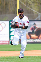 Wisconsin Timber Rattlers third baseman Gabriel Garcia (4) prepares to make a throw to first during a Midwest League game against the Lansing Lugnuts on May 8, 2018 at Fox Cities Stadium in Appleton, Wisconsin. Lansing defeated Wisconsin 11-4. (Brad Krause/Four Seam Images)